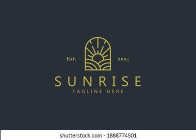 Sunrise Farm On The Window Shape Logo. Vintage Badge Creative Design Brand Identity.