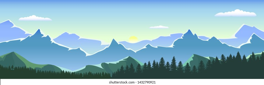 Sunrise in a forest valley with mountains