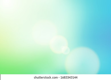 sunrise glitter lens flare, soft bokeh nature background, illustration light blue and green pastel sweet color filter abstract simplicity for advertising products background.
