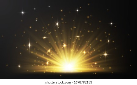 Sunrise. Glow light effect. Starburst with sparkles on dark transparent background. Vector illustration.