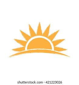 Sunrise hand drawn logo. Vector graphic illustration