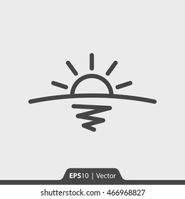 Sunrise with horizon and sea vector icon for web