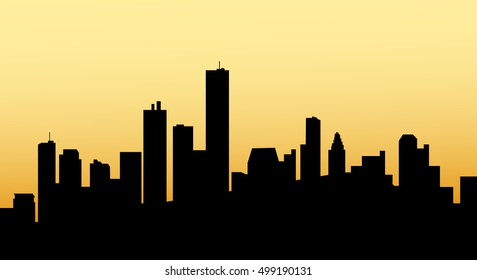 Sunrise Houston City Skyline - Vector