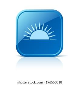 Sunrise icon on blue web button