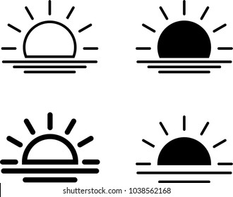 Sunrise Icon, Sun Rise Vector Art Illustration