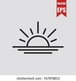 Sunrise icon in trendy isolated on grey background.Vector illustration.