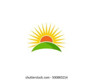 Sunrise Landscape Horizon Logo Design Template