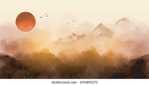Sunrise landscape with misty forest, distant mountains and sunrise sky. Traditional oriental ink painting sumi-e, u-sin, go-hua
