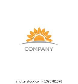 Sunrise logo. Sunflower logo. Minimalist logo.