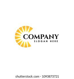 Sunrise logo template. Vector illustration Icon Logo Template Sun over horizon
