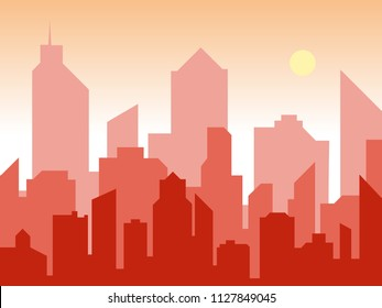 Sunrise and modern silhouette city in flat art style. Comics book design background. Vector illustration retro style