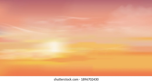 Sunrise in Morning with Orange,Yellow and Pink sky, Dramatic twilight landscape with Sunset in evening, Vector mesh horizon Sky  banner of Sunset or sunlight for four seasons background