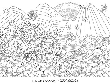 sunrise in mountain seascape with branch of flowering sakura for your coloring book