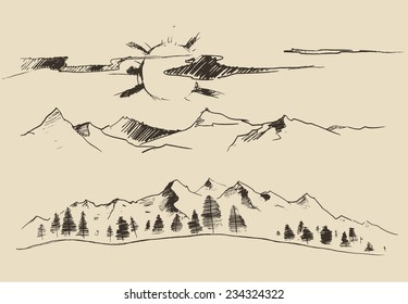 Sunrise in mountains, fir forest, engraving vector illustration, hand drawn, sketch