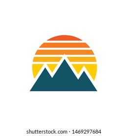 Sunrise with mountains logo template vector nature icon design