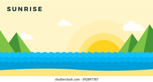 Sunrise on the beach vector flat material design isolated on white