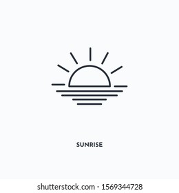 Sunrise outline icon. Simple linear element illustration. Isolated line Sunrise icon on white background. Thin stroke sign can be used for web, mobile and UI.