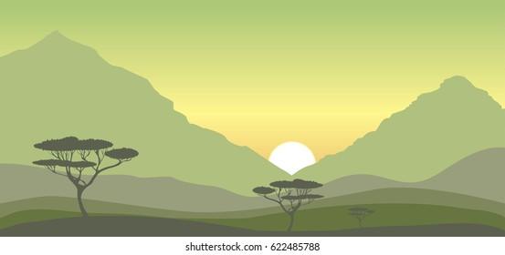 Sunrise  over hills and acacia trees, vector savanna landscape, nature illustration