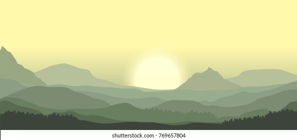 sunrise over misty mountain peaks vector landscape illustration