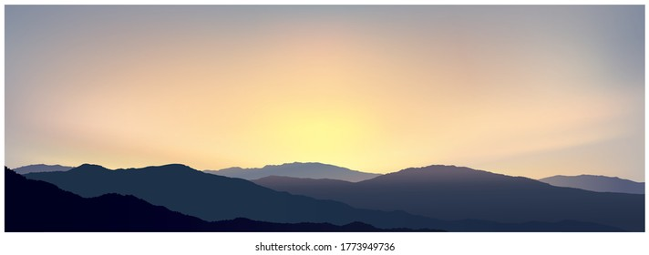 Sunrise over the mountains in the early morning, the first rays of the sun due to the silhouettes of the mountains. Panoramic landscape, vector illustration.