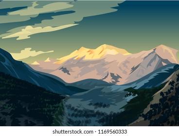 Sunrise over Nanga Parbat, Mountain landscape Vector illustration