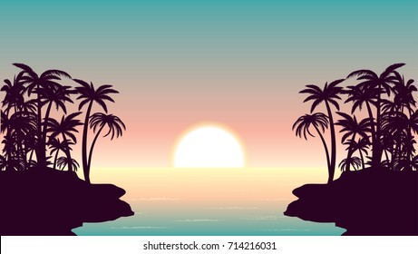 sunrise over ocean and tropical shore vector illustration.palm tree silhouettes,sun and sea