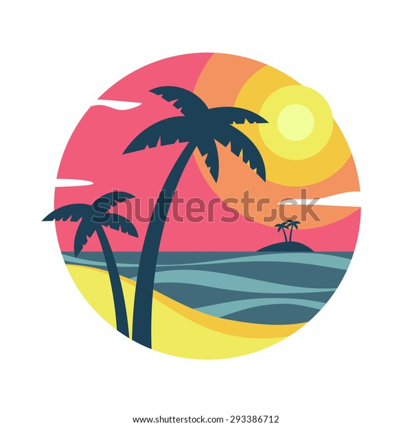 Sunrise with palm trees on the tropical island.