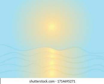 Sunrise. reflection of the sun in the sea surface of water-vector illustration, eps