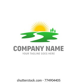 Sunrise River Logo - Sunset Vector