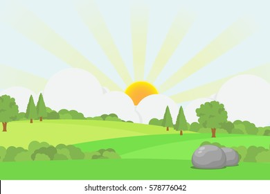 Sunrise in Rural Scene with Green Field Landscape.Vector Illustration of Beautiful Summer Morning.