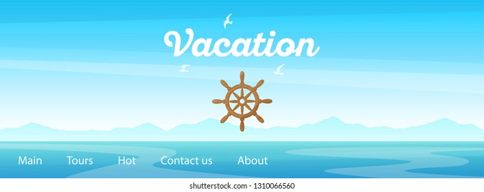 Sunrise seascape panoramic illustration of marine trip with caption and steering wheel - Vector illustration with layout for travel web site or banner.