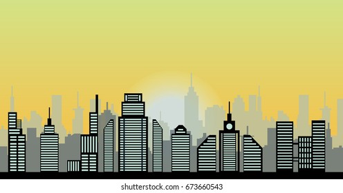 sunrise sky and city vector illustration.skyline, cityscape
