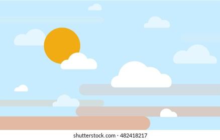 sunrise sky or sunset, vector illustration