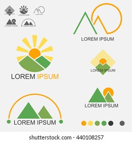Sunrise And Sunset Is Behind Both Mountains Logo Set - Vector