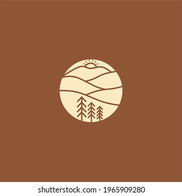 Sunrise and sunset behind the hill logo design. Tree, sunshine, golden time