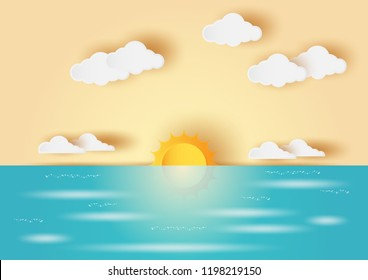 Sunrise and sunset with blue sea and orange sky,golden hour,summer beach,paper art,paper cut,digital craft style,vector landscapes illustration.