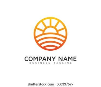 Sunrise Sunset Farm Logo Template