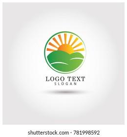 Sunrise Sunset Hills Symbol & Icon Logo Vector Template