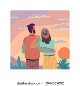 Sunrise or sunset landscape, flat cartoon travel people looking at sky, back view. Vector couple in love observation nature and dreaming together. Evening dreams, inspiration and imagination