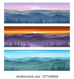 Sunrise and sunset at mountains. Backgrounds landscape nature outdoor. Vector illustration