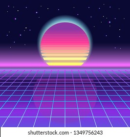 Sunrise, sunset. Retrowave, synthwave, rave, vapor background. Light grid landscape. Yesterday's tomorrow style. Retro, vintage 80s, 90s. Black, purple, pink, blue colors. Banner, print, wallpaper