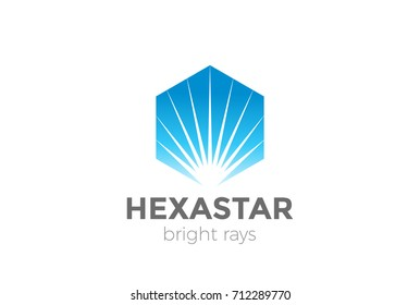 Sunrise Sunset Star in Hexagon Logo abstract design vector template. Corporate Business Luxury Logotype Negative space style.