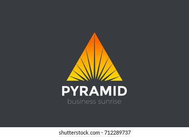 Sunrise Sunset Star in Triangle Pyramid Logo abstract design vector template. Corporate Business Luxury Logotype Negative space style.