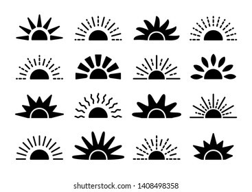 Sunrise & sunset symbol collection. Horizon flat vector icons. Morning sunlight signs. Isolated object on white background