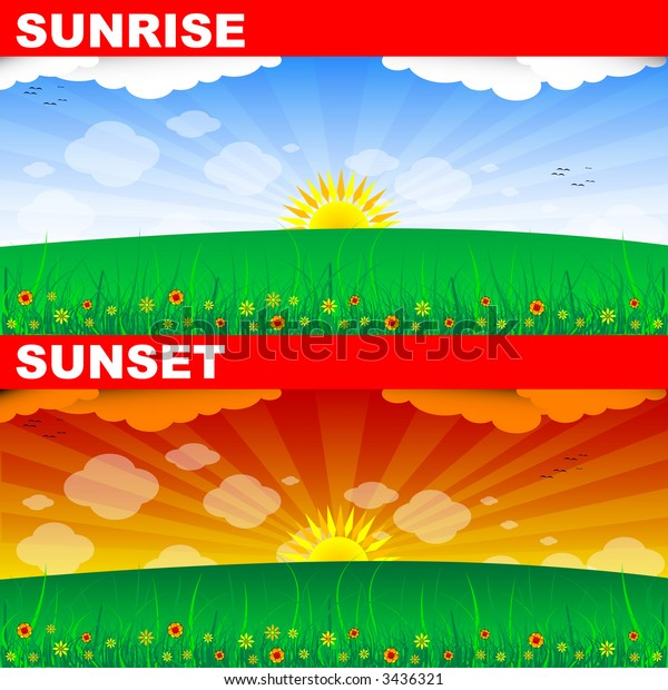 SUNRISE AND SUNSET (vector)