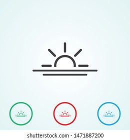 The sunrise and sunset vector icon. The morning rise symbol. The isolated sign .