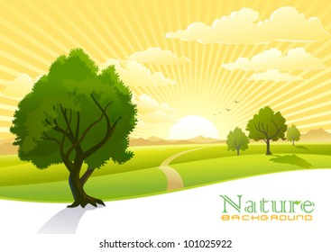Sunrise and trees with Graphic Wave Background