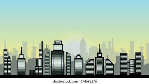 Sunrise vector cityscape illustration