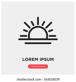 Sunrise vector icon, summer symbol. Modern, simple flat vector illustration for web site or mobile app