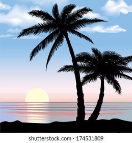 Sunrise view at resort. Summer holiday landscape. Palm trees at ocean beach.